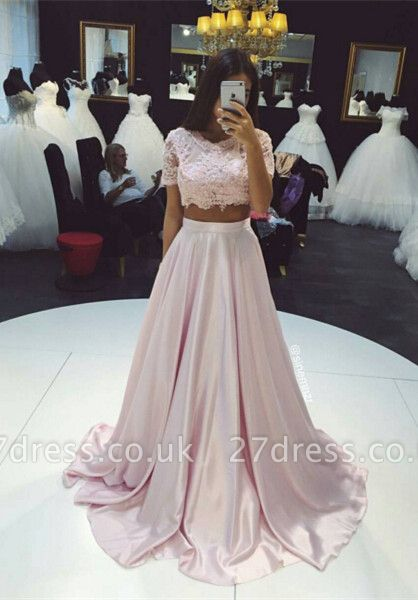 Beautiful Two Pieces Short Sleeve Prom Dress UKes UK Lace A-Line Party Gown