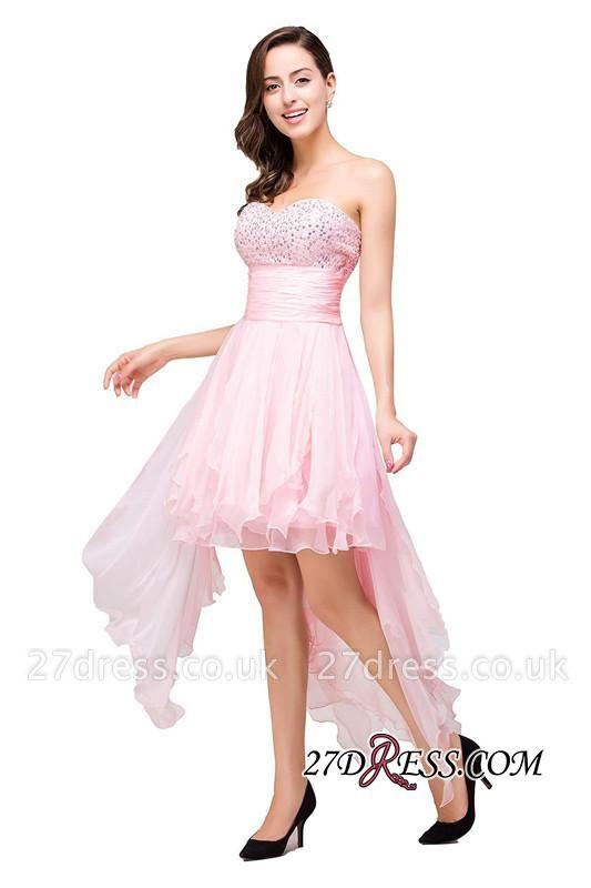 Chiffon A-Line Ruffles Crystal Sweetheart Mini Homecoming Dress UK