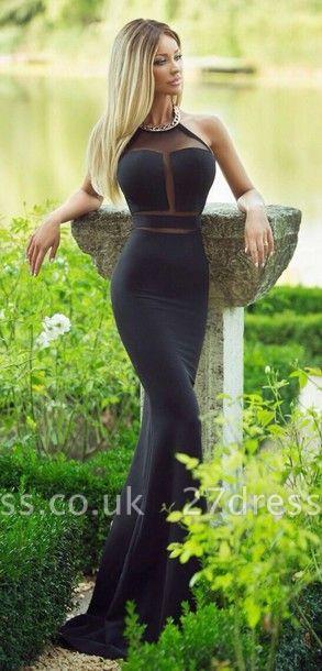 Modern Halter Mermaid Black Prom Dress UK Sleeveless With Beadings