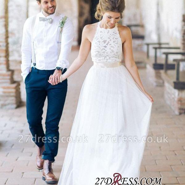 Simple Floor-length Sashes Lace White Halter A-line Wedding Dress BA3987