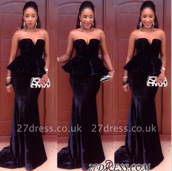Simple Velvet Mermaid Black Floor-Length Sweetheart Prom Dress UK