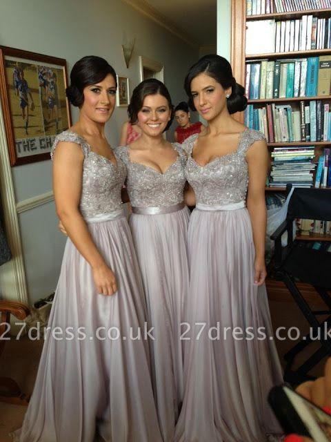 Sexy Silver Bridesmaid Dresses Lace Sequins Beads Cap Sleeves V-Neck Chiffon Bridesmaid Dress