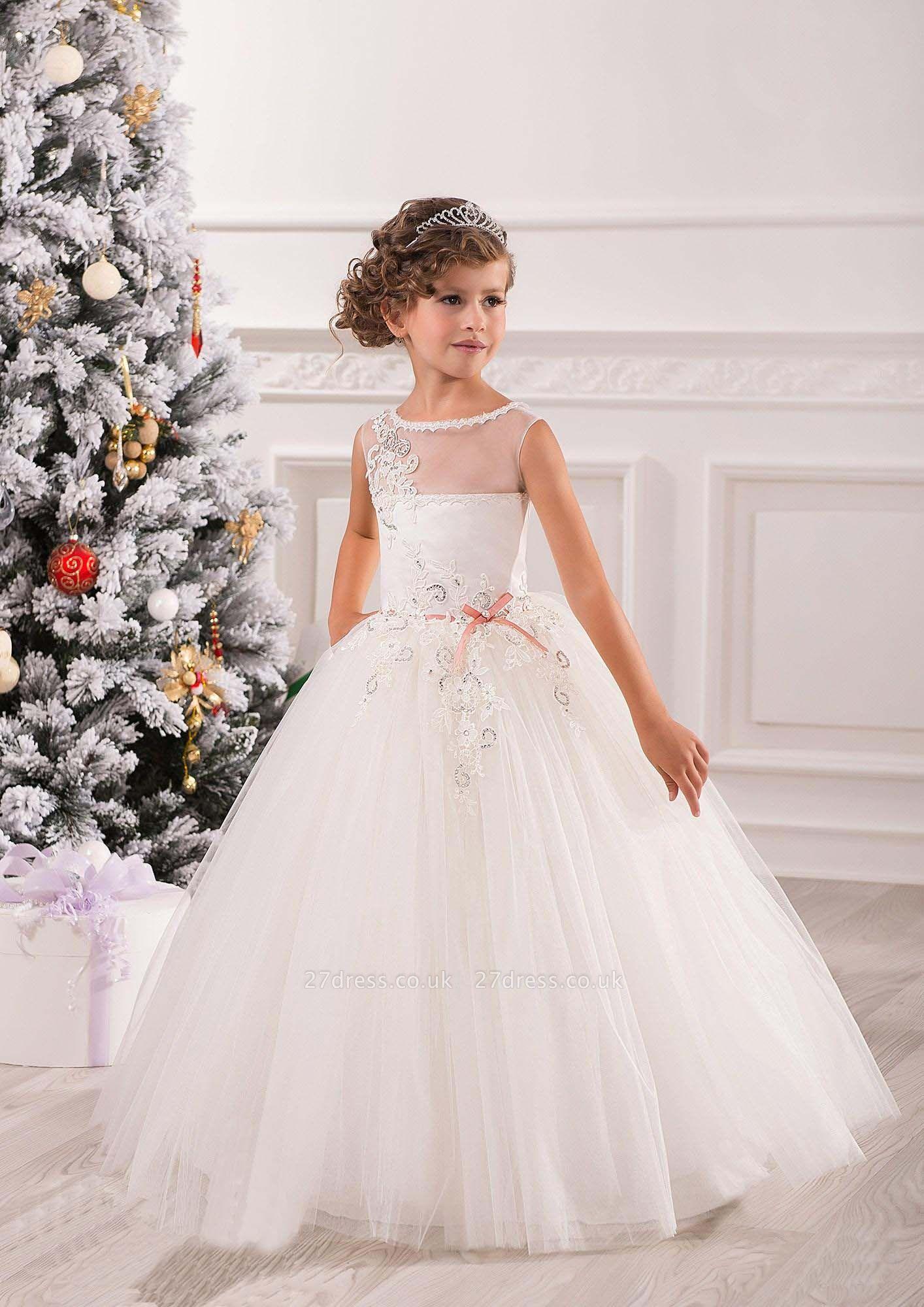 Lovely Princess Sleeveless Puffy Tulle Flower Girl Dress UK