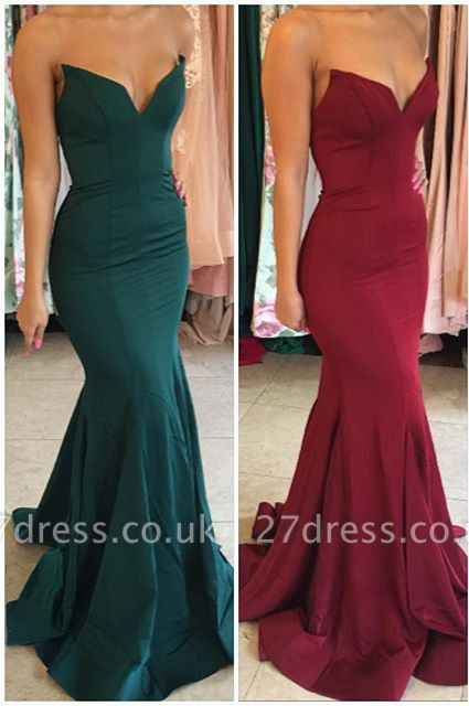 Sexy V-Neck Mermaid Evening Party Gowns Floor Length Prom Dress UK BA7876
