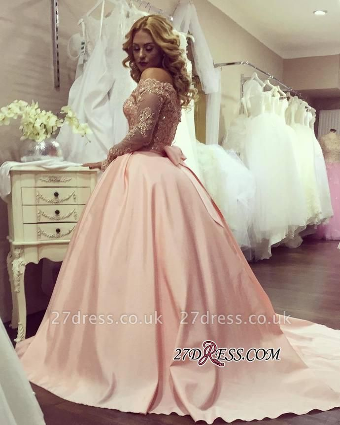 Ball-Gown Off-the-Shoulder Gold-Lace Bowknot Long-Sleeves Prom Dress UKes UK ly160