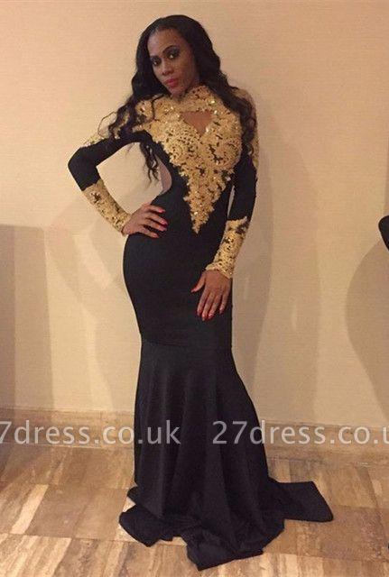 Long sleeve gold appliques prom Dress UK, mermaid evening Dress UKes UK