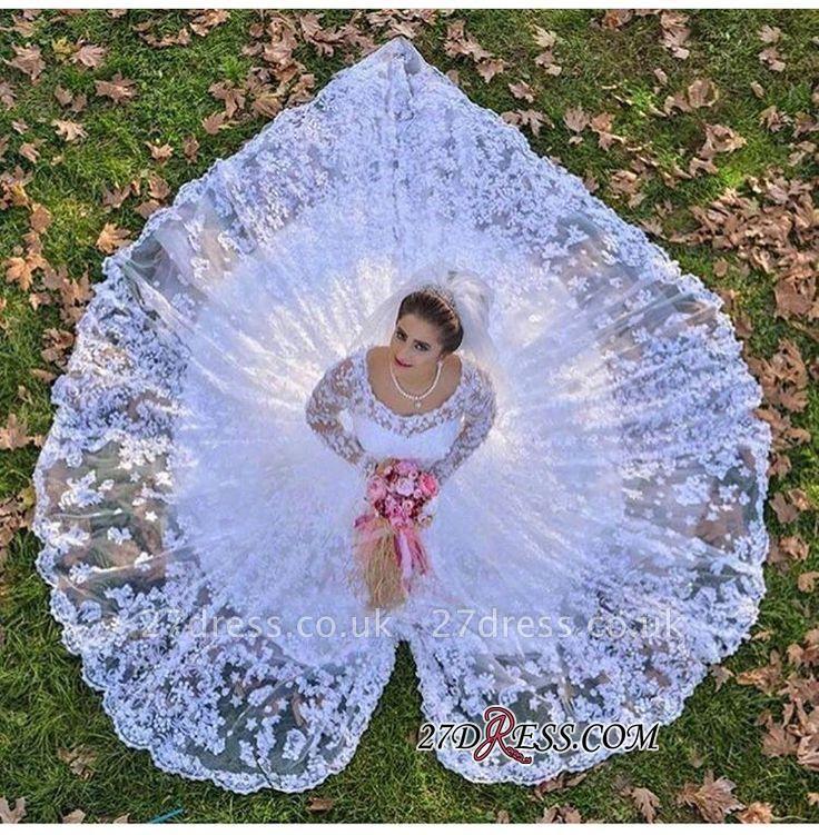 Luxurious Long-Sleeve A-line Lace White Wedding Dresses UK