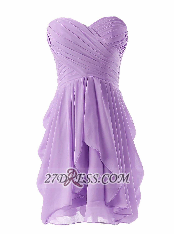 Lovely Sweetheart Sleeveless Chiffon Short Homecoming Dress UK With Zipper