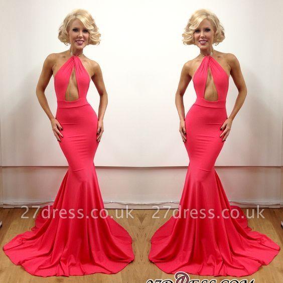 Floor-Length Peach Sleeveless Elegant Open-Back Mermaid Evening Gowns