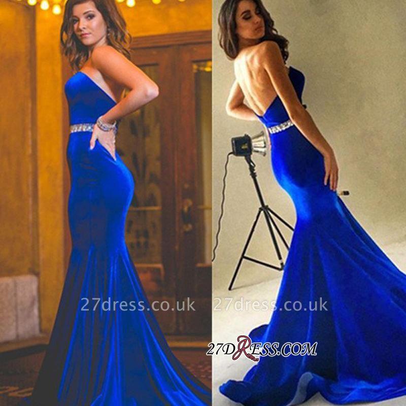 Velvet Backless Royal-Blue Mermaid Charming Crystals-Sash Sweetheart Prom Dress UK BA7608