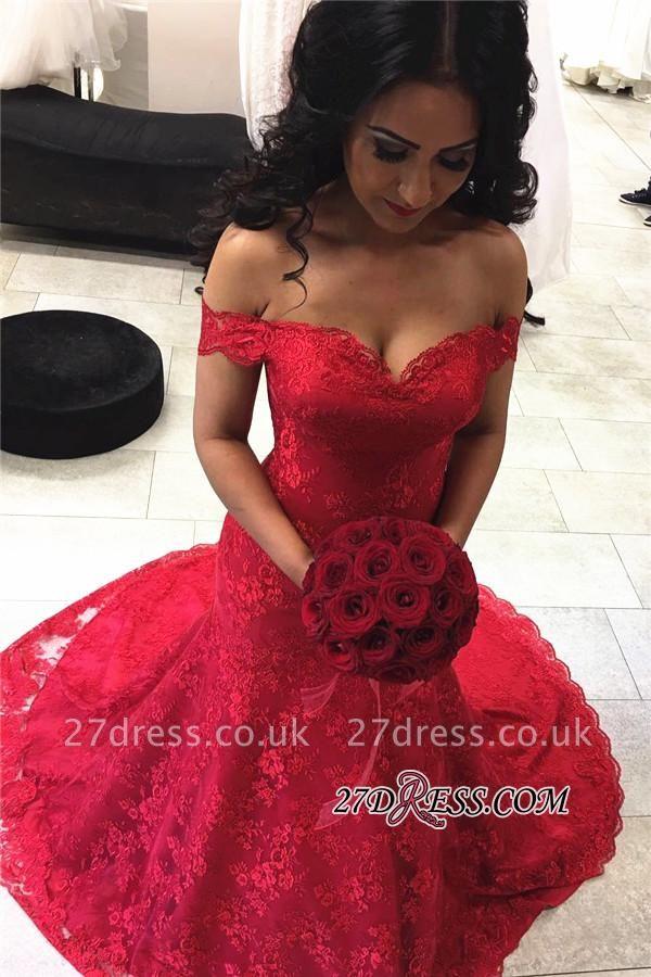 Red Elegant Lace Court-Train Mermaid Off-the-shoulder Evening Dress UKes UK