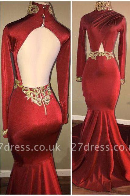 Long-Sleeve Mermaid Prom Dress UK | Open-Back Long Evening Gowns