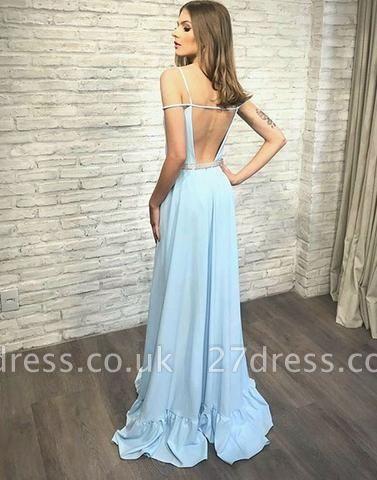V-neck Long Stylish Backless Blue Evening Dress UK