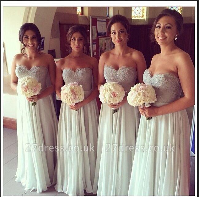 Elegant Sweetheart Sleeveless Chiffon Bridesmaid Dress UK With Lace
