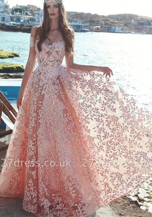 Sexy Off-the-Shoulder 2019 Evening Dress UK | Lace Appliques Prom Party Dress UK On Sale