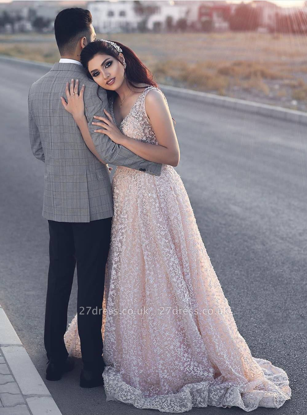 Newest Pink Lace A-line Straps Evening Dress UK   Sleeveless Evening Gown