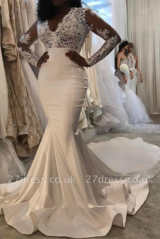 Long sleeve lace wedding dress, Sexy Mermaid bridal gowns BA8204