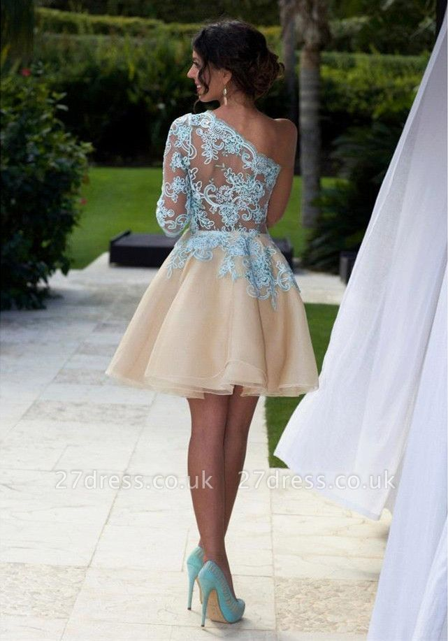 Charming One Shoulder Blue Lace Homecoming Dress UK New Arrivals Short Prom Dress UK