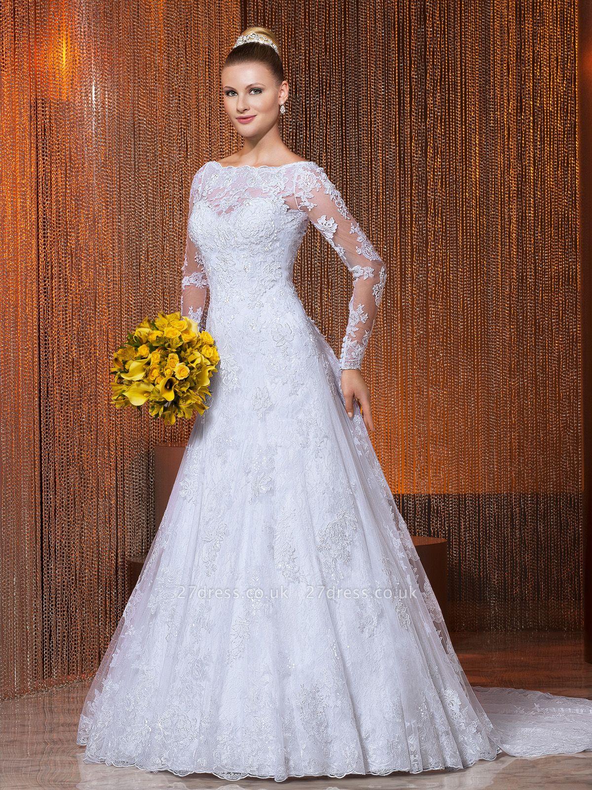 Elegant Illusion Tulle Lace Appliques Wedding Dress Zipper Button Back