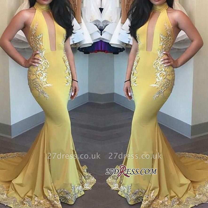 Yellow Keyhole High-Neck Appliques Mermaid Beautiful Evening Dress UK BA4288