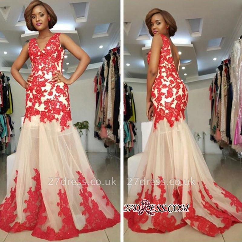 Sleeveless Straps Lace-Appliques Mermaid Modest Backless Prom Dress UK