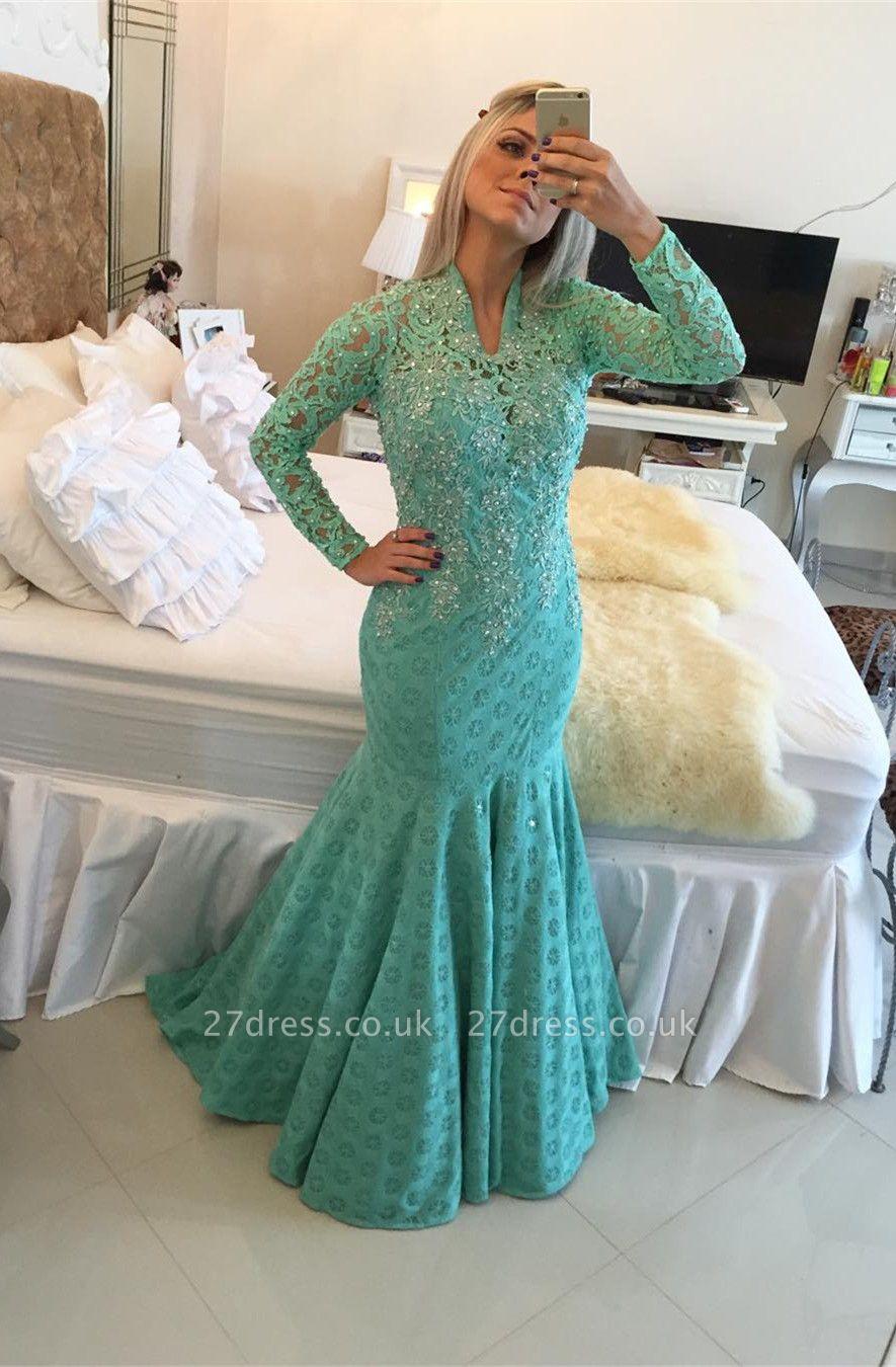 Gorgeous Long Sleeve Lace Evening Dress UKes UK Appliques Mermaid