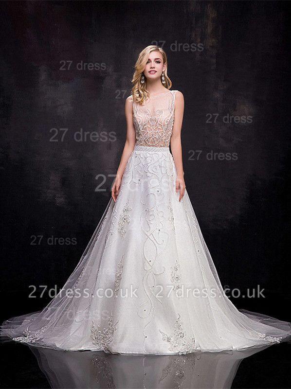 Delicate Sleeveless A-line Wedding Dress Beadss Court Train