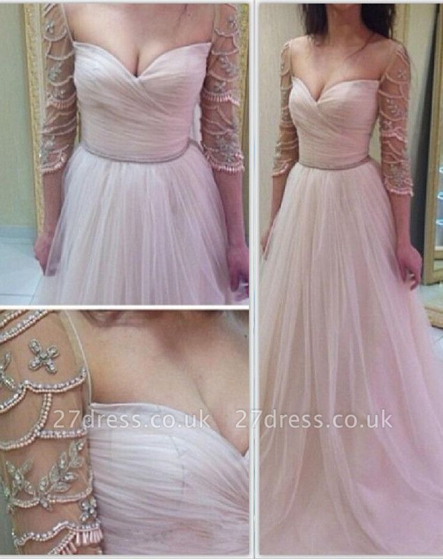 Sexy 3/4 Length Sleeve Prom Dress UK Long Tulle With Diamonds