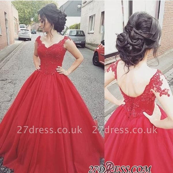 Tulle Lace-up Lace Straps Modern Red Prom Dress UK BA4632