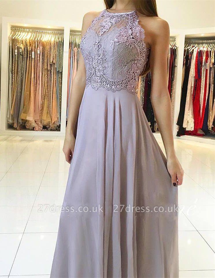 Sexy Lace Long Chiffon Prom Dress UK Sleeveless Floor Length