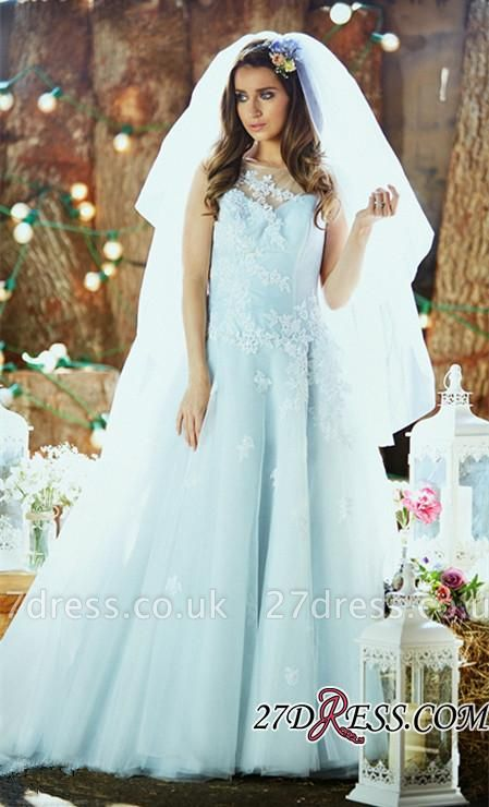 Delicate Applique Long Sleeveless Tulle Ice-Blue Wedding Dresses UK