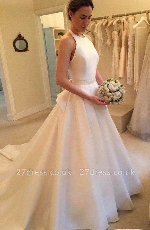 Gorgeous Sleeveless Halter Wedding Dress | Backless Bridal Gown