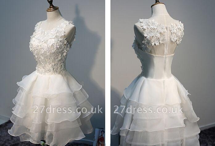 Layers Sleeveless Lace Hot White Short Organza Lace-Appliques Homecoming Dress UK