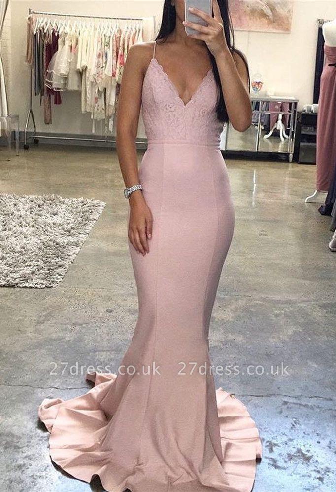 Sexy V-Neck Spaghetti-Straps Evening Dress UK | Lace Long Prom Dress UK