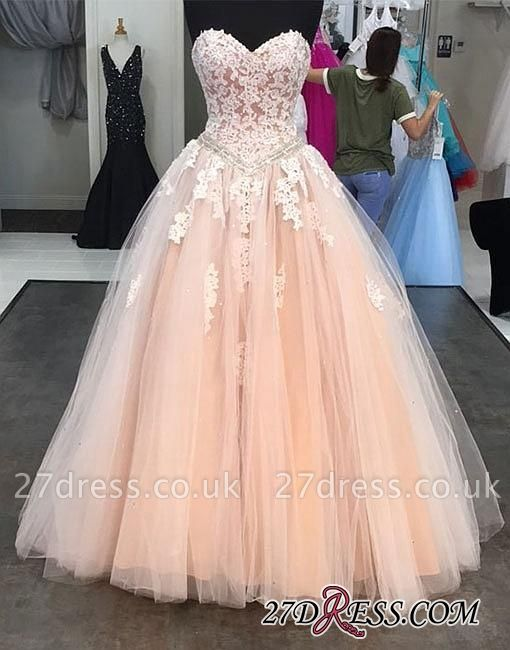 Lace Tulle Sweep-train Sweetheart-neck Pink Evening Dress UK