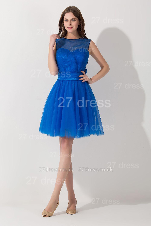 Modern Royal Blue Short Cocktail Dress UK Sleeveless Beadings Bowknot