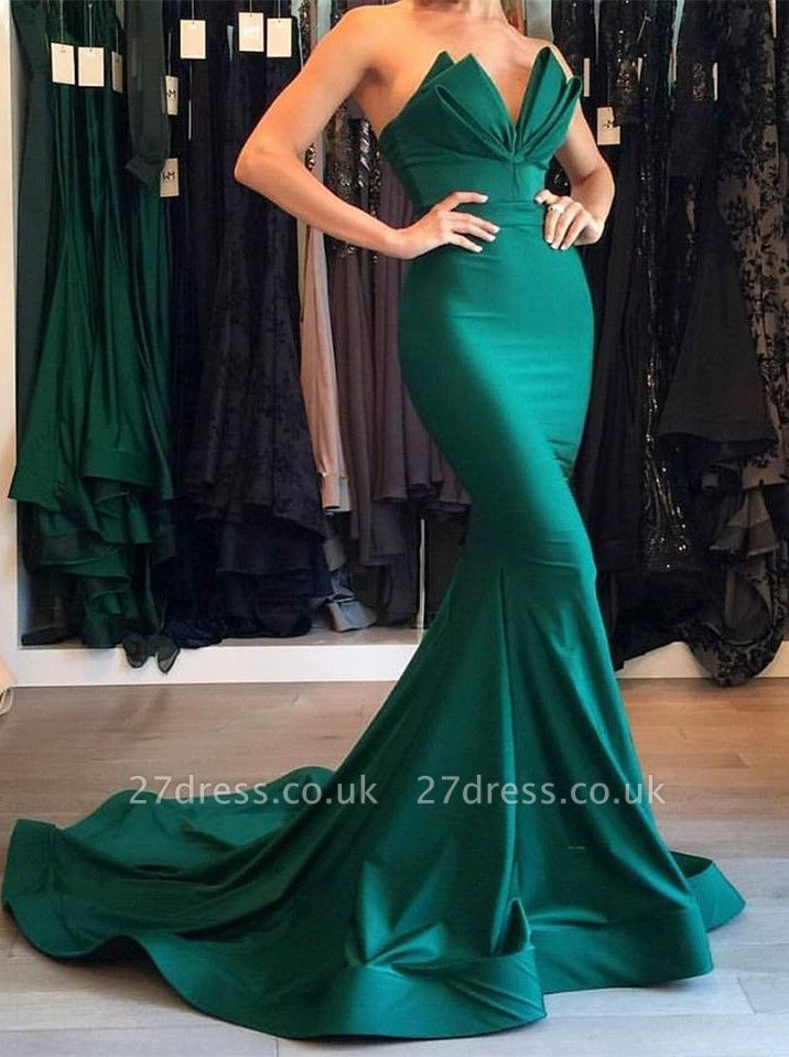 Designer Green Mermaid Evening Dress UK Long Party Gowns On Sale BA7134