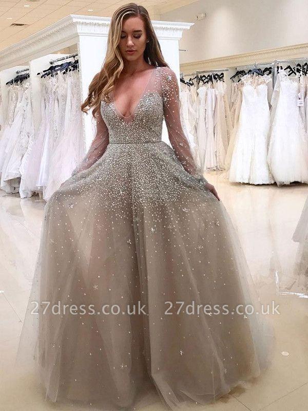 Gorgeous Long Sleeve Beadings V-neck Tulle Evening Dress UK