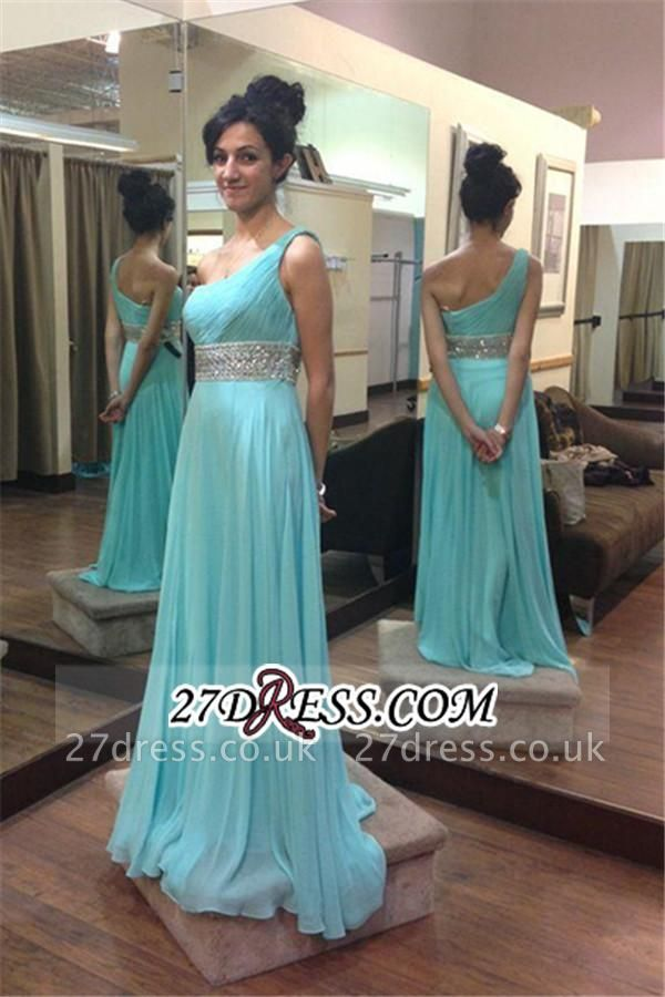 Long Chiffon Empire One-Shoulder Beading Sleeveless Prom Dress UKes UK