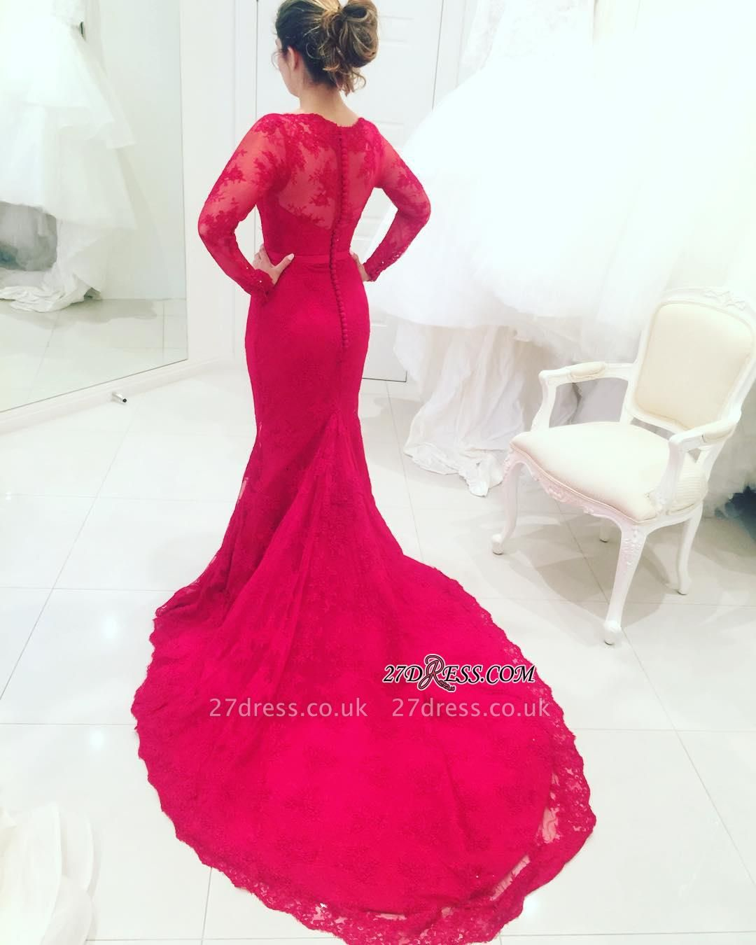 Mermaid High-Neck Long-Train Appliques Red Long-Sleeves Lace Evening Dress UKes UK BA3865