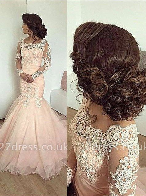Chic Long Sleeve Evening Dress UK Mermaid With Lace Appliques