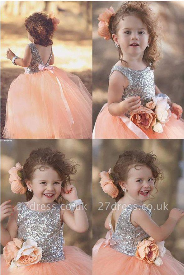 Lovely Tulle Sequined Flower Girl Pageant Dress Jewel Sleeveless