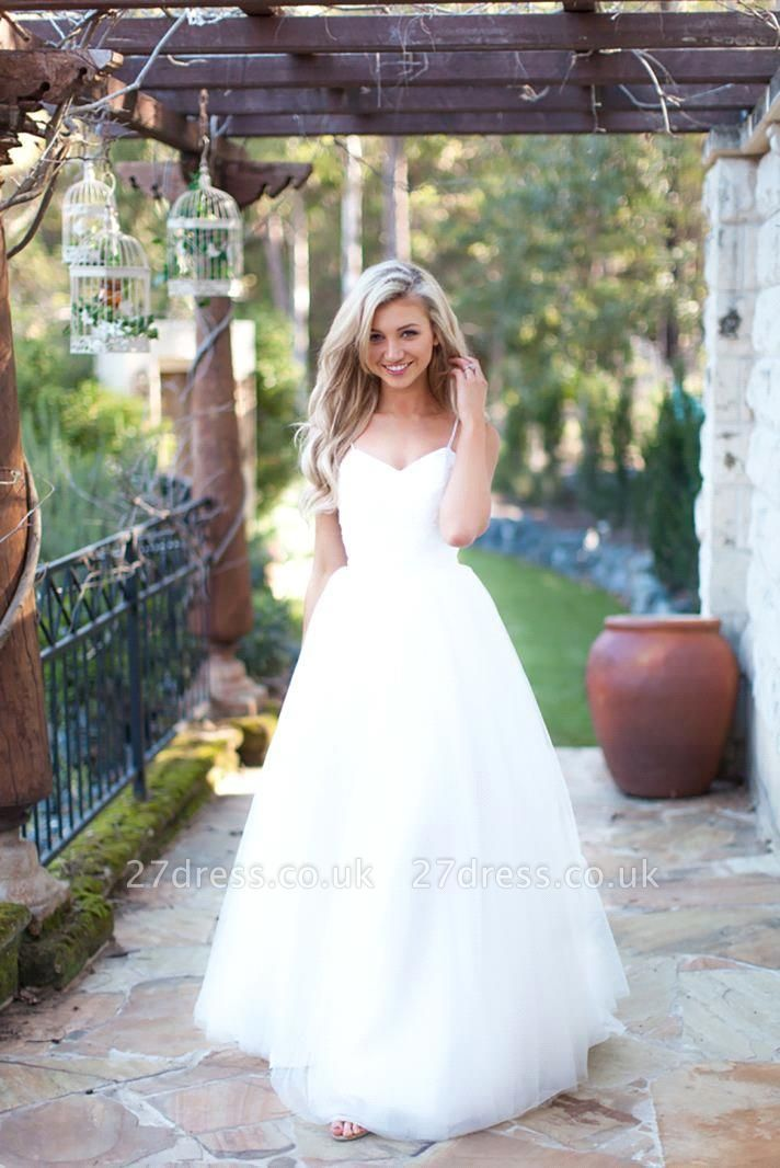 Hot Summer Beach Wedding Dress Long Tulle Spaghetti Straps