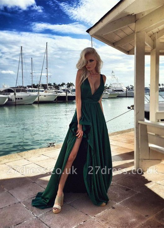 Sexy Green V-Neck Prom Dress UKes UK Long Split Party Gown BA6870