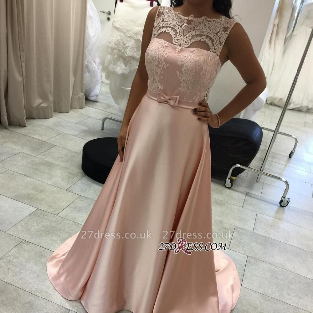 Lace Long A-Line Sleeveless Sexy Evening Dress UK BA9454