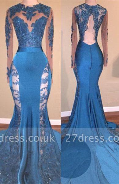 Blue Long-Sleeve Prom Dress UK   Lace Mermaid Formal Dress UK