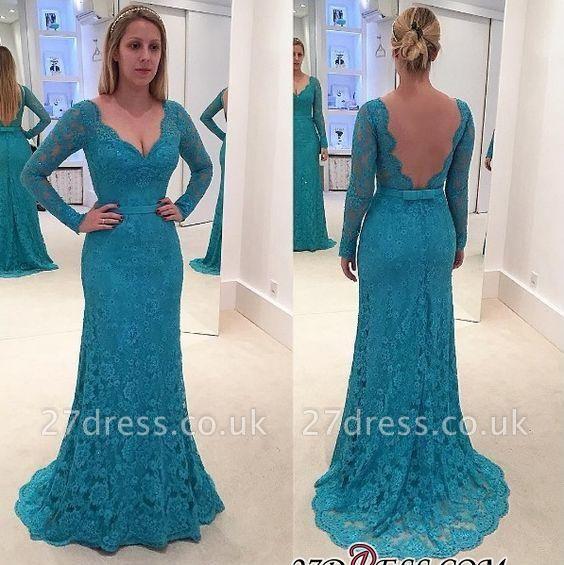 Mermaid Open-Back Long-Sleeves Lace V-Neck Prom Dress UKes UK