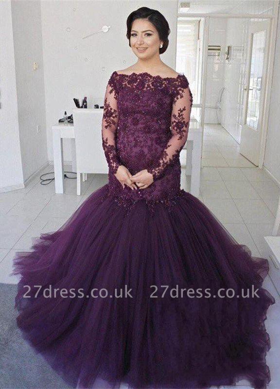 Gorgeous Long Sleeve Plus Size Prom Dress UK Mermaid Lace Appliques On Sale BA8433