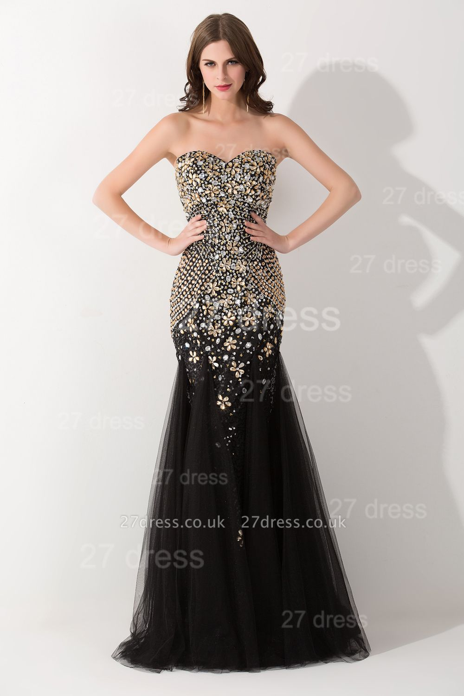 Gorgeous Sweetheart Sleeveless Mermaid Evening Dress UK Crystals Sweep Train