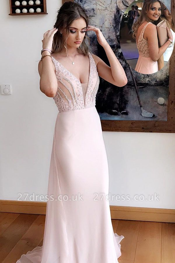 Simple Pink Beads Straps Evening Dress UK | Sleeveless Evening Gown